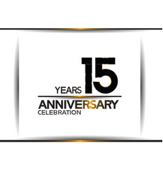 15 years anniversary black color simple design vector