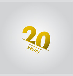 20 years anniversary celebration gold line vector