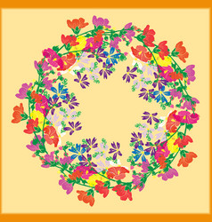 A wreath of flowering branches with pink red and vector