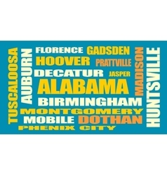 Alabama state cities list vector