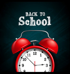 Back to school design with red alarm clock on dark vector