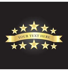 Background with gold stars and ribbon vector