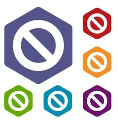 Ban rhombus icons vector