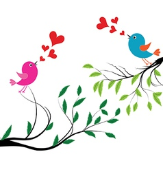 Bird with love of a birds wedding vector