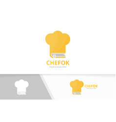 Book and chef hat logo combination kitchen vector