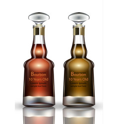 Bourbon cognac realistic bottles product vector
