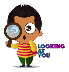 Boy is looking trough magnifying glass on white vector