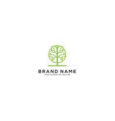 Brain and tree logo design vector