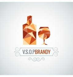 Brandy glass poly design background vector