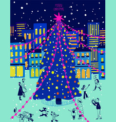 Bright christmas greeting card with city scene vector