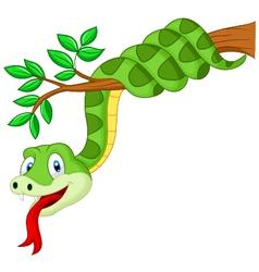 Cartoon green snake on branch vector