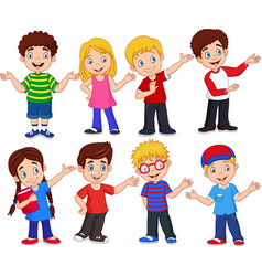 cartoon kids with different expressions vector image
