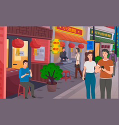 Chinese shopping street with takeaway food vector