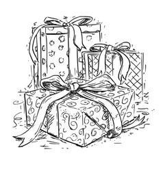 christmas gift boxes hand drawing vector image
