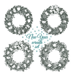 christmas wreaths for greeting card vector image