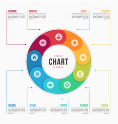 Circle chart infographic template with 9 parts vector