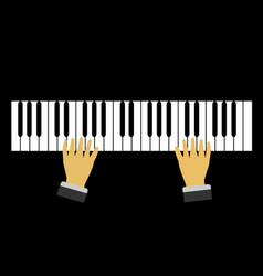 close up hands are playing piano black background vector image