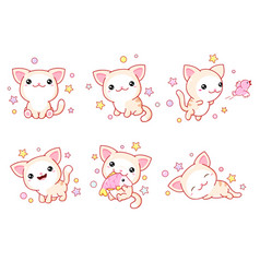 collection kawaii little cats in various poses vector image