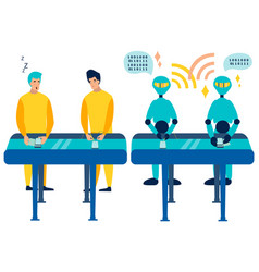 Comparison workers are humans and robots mood on vector