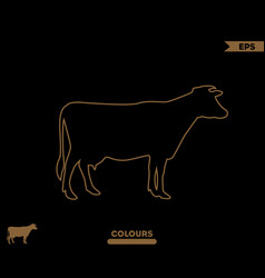 cow silhouette outline vector image