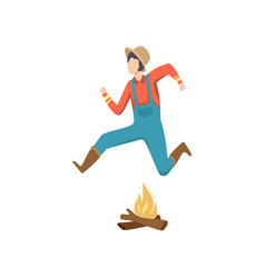 Cowboy jumping over fire at folklore party festa vector