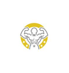 creative bodybuilder circle logo vector image