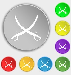 Crossed saber icon sign Symbol on eight flat vector