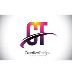 Ct c t purple letter logo with swoosh design vector