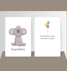 cute koala sits hand drawn doodle poster template vector image