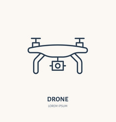Drone flat line icon aerial survey device sign vector