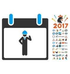 Engineer Calendar Day Flat Icon With Bonus vector