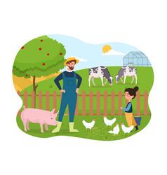 Farmer and kid vector