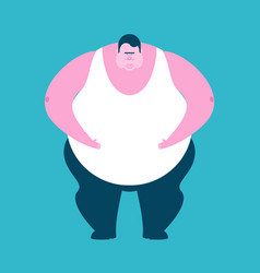 Fat guy isolated glutton thick man fatso vector