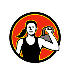 female personal trainer lifting kettlebell mascot vector image