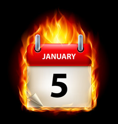 Fifth january in calendar burning icon on black vector