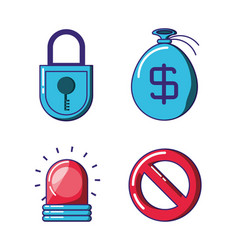 Financial technology security icons vector
