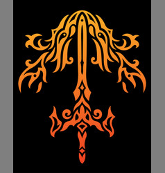 Fire sword pattern vector