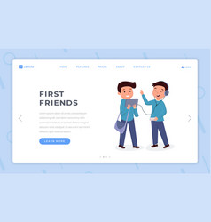 first friends landing page flat template boys vector image