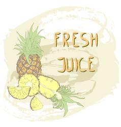 fresh pineapple juice vector image