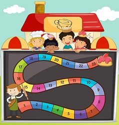 Game template with children and bakery vector image