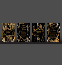 Gold marble texture and geometric frames vector