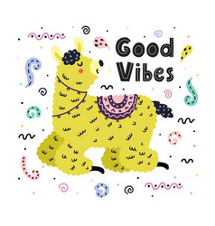 good vibes card with a cute llama creative vector image