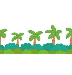 Green bush with palm trees border vector