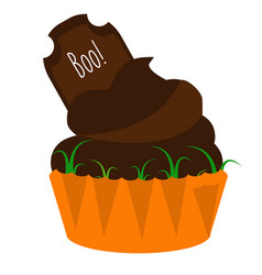 halloween cupcake with chocolate tombstone party vector image
