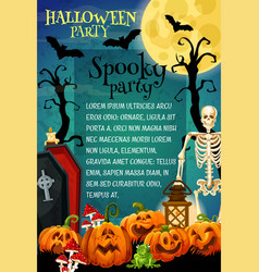 Halloween spooky skeleton for night party banner vector