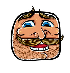 Happy cartoon face with mustaches vector