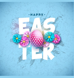 happy easter holiday design with painted egg and vector image