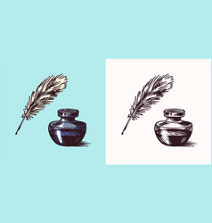 Ink and feather and inkwell in vintage engraved vector