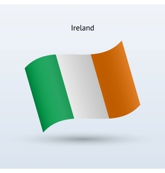 Ireland flag waving form vector