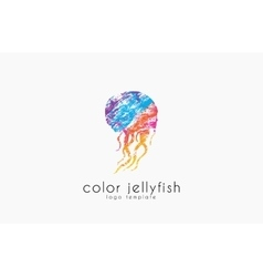 Jellyfish logo design Sea logo Ocean logo design vector image